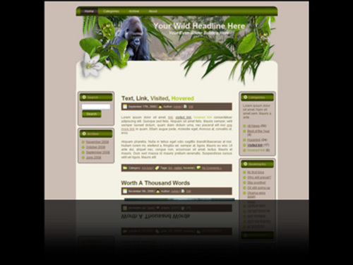 Product picture Wildlife Wordpress theme and website template with gorilla