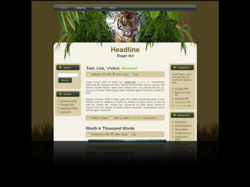 Product picture Wildlife Wordpress theme and website template with tiger