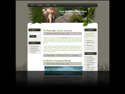 Product picture Wildlife Wordpress theme and website template with elephant